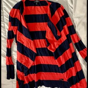 Limited red navy stripe fly away cardigan S